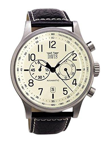 Davis 1022 - Mens Aviation Watch Chronograph Waterresist 50M Beige Dial Date Black Leather Strap