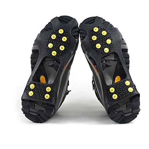 logei® Crampons pour Chaussure avec 10 Clous antidérapants pour Outdoor neige glace montagne Taille 39-46 Couleur Noir (une paire)