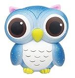 LaliLaco Squishy uccello gufo morbido Blu giocattolo Spremere lento aumento (altezza 13cm)