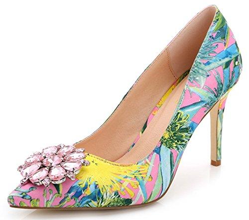 Aisun Femme Elégant Multicolore Soie Talon Haut Aiguille Escarpins Rose