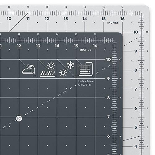 Arteza Base de corte autorreparable para cuchilla circular   Alfombrilla de doble cara para costura   Plancha de corte para medir en pulgadas   Tamaño 12x18' (3 mm de grosor)