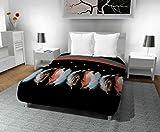 Intemporel Couette Imprimée 240x220 cm Plumette, Polyester, Noir