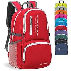 ZOMAKE Sac à Dos Compact, Sac à Dos Pliable Léger, Sac de Randonnée pour Homme Femme Sports et Plein air (Rouge)