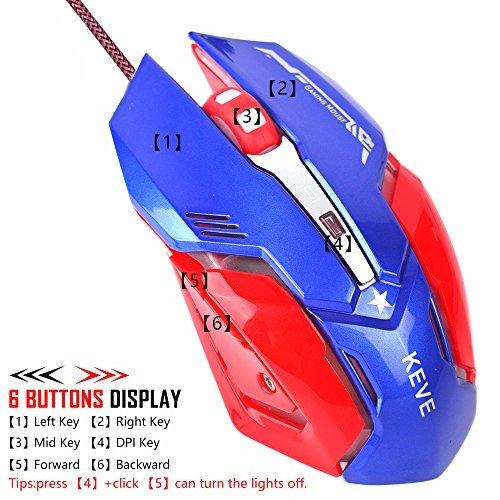 ing mit LED Optische, 6Tasten und 5LED Farbe Verstellbar USB Wired Maus für Laptops, PC, Mac Book omputer (Rot) ()