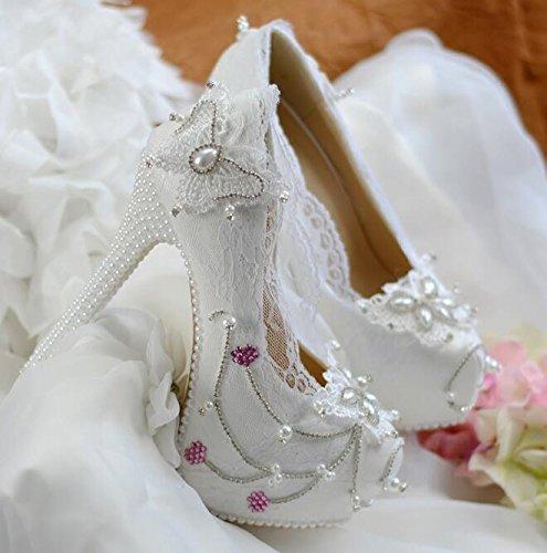 JINGXINSTORE Womens Round Toe pompe piattaforma perla di pizzo tacchi alti vestito da sposa scarpe bianco White
