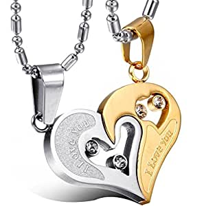 Yutii our heart two piece 316 stainless steel couple pendant yutii our heart two piece 316 stainless steel couple pendant necklace set for men mozeypictures Image collections