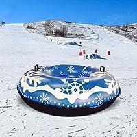 Besthuer Tubo de Nieve Inflable Negro PVC Copo de Nieve impresión Trineo de Nieve círculo para Esquiar Patinaje y Juegos de Nieve