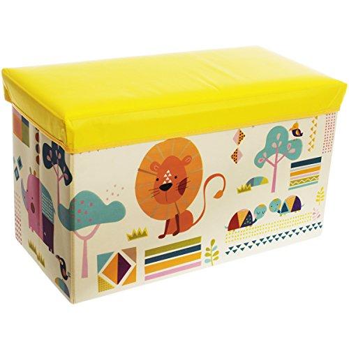 Staubox und Sitzbank, Aufbewahrungsbox Zoo mit Deckel, 60 x 30 cm - Spielzeugbox Sitzbox Kinder Aufbewahrungs Kiste Truhe Tonne Box Faltbar