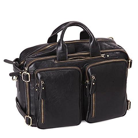Leathario Besace en cuir véritable sac porte épaule sacoche pour ordinateur sac bandoulière sac à dos sac à main pour hommes
