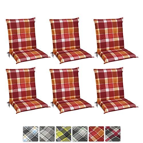 Beautissu 6er Set Sunny RO Niedriglehner Auflagen Set für Gartenstühle 100x50 cm in Rot Kariert - Bequeme Gartenstuhl Stuhlkissen Polsterauflagen UV-Lichtecht