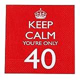 Neviti - Servilletas para 40º cumpleaños, diseño con texto en inglés Keep Calm