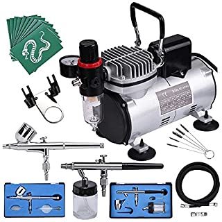 ReaseJoy AS18-2S Complete Airbrush Kit Compressor with Fan Nail Tattoo Art Spray Gun Paint Beauty Make up