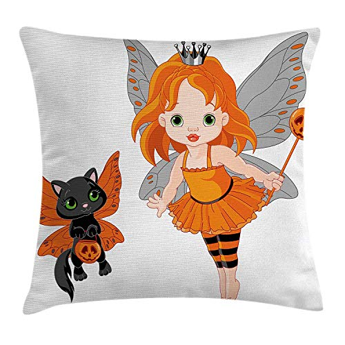 ow Pillow Cushion Cover, Halloween Baby Fairy and Her Cat in Costumes Butterflies Girls Kids Room Decor, Decorative Square Accent Pillow Case, 18 X 18 inches, Multicolor ()