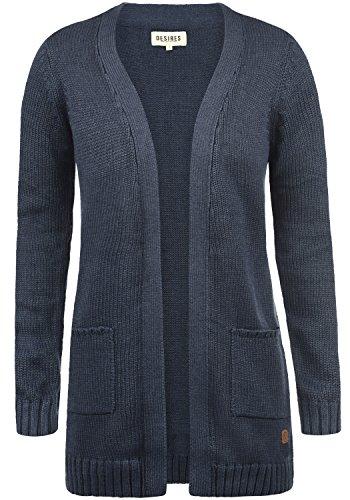 DESIRES Paula Damen Strickjacke Cardigan mit offenem V-Aussschnitt aus hochwertiger Baumwoll-Mischung, Größe:L, Farbe:Insignia Blue Melange (8991) (Blue V-neck-gerippte)