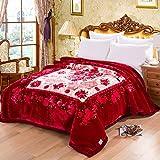 Ericcay Rote Decke Blumenmuster Schlafzimmer Decke Casual Chic Mit Bedeckt Bett Vier Jahreszeiten Freizeit Decke Weich Und Komfortabel Doppelte Isolierung Wolldecke (Größe 175 * 215Cm)