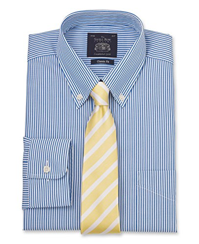 Savile Row Men's Blue White Bengal Stripe Classic Fit Shirt - Single Cuff Blue White