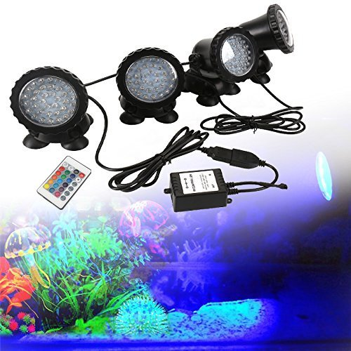 GreenSun LED Lighting 36 LED Spot Led Submersible Ampoule / Lampe LED Etanche 1 set avec 4 Lumineuse LED 8W RGB 20 Colorful Aquarium Spot Light avec 24 Télécommande IR Key