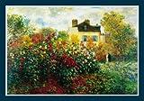 Bild mit Rahmen Claude Monet - The Artist's Garden - Holz blau, 100 x 70cm - Premiumqualität - Impressionismus, Garten, Garten des Künstlers, Monets Garten, Gartenweg, Blumenpracht, .. - MADE IN GERMANY - ART-GALERIE-SHOPde