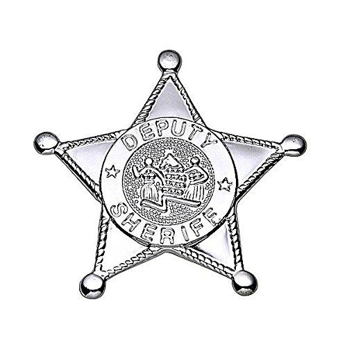 Silberner Sheriff-Stern 8 cm (Sheriff Deputy Kostüm)