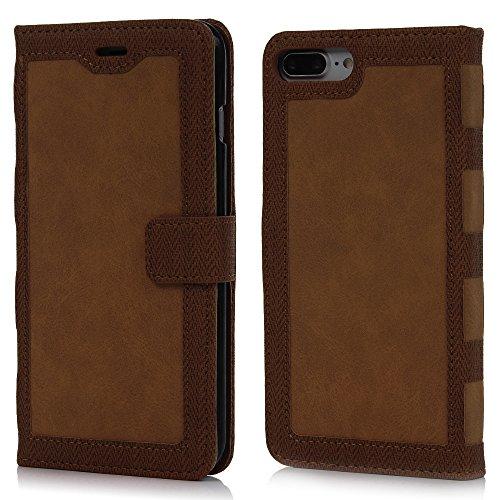 MAXFE.CO Lederhülle Leder Tasche Case Cover für iPhone 7 Plus (5.5 Zoll)Hülle PU Schutzhülle Flip Cover Wallet im Bookstyle mit Standfunktion Karteneinschub und Magnetverschluß-Grau Braun