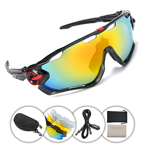 OUTERDO Sports Polarized Sunglasses Cycling UV Eye Protection Windproof Glasses with 5 Lens for Outdoor Sports Running Driving Hiking Shooting Fishing Biking Black