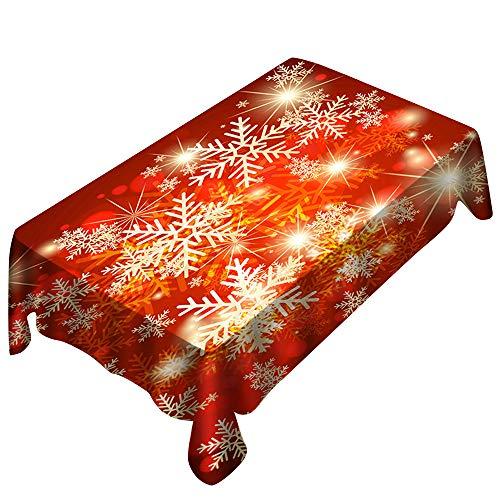 Junjie Weihnachtstischdecke Print Rechteck Szene Tabelle Abdeckung Urlaub Party Home Decor Rot rechteckige Größe: 20X20X5