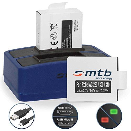 2 Akkus + Dual-Ladegerät (USB) für Rollei Actioncam 220, 300, 300 Plus, 310, 330, 333, 350, 415,...