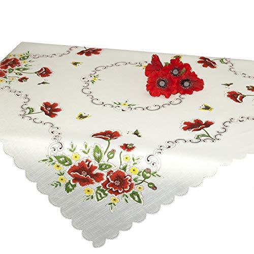 Tischdecke Mitteldecke ROTER MOHN / weiße Druckmotivdecke / 85x85 cm / moderne Tischdecke für Küche, Wohnzimmer und Garten