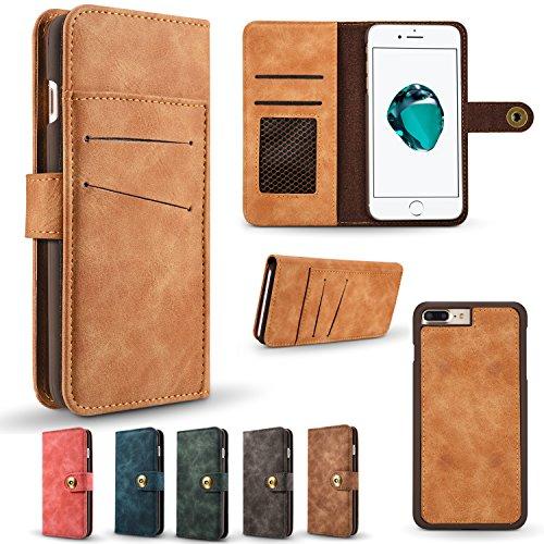 AddGuan iPhone 6/6S Plus Caso, Retro in Pelle di moda PU / Raccoglitore multifunzionale estraibile, Slot per schede fotografiche e slot adatto per iPhone 6/6S Plus, Verde Blu