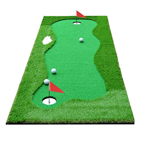 HOGAR AMO Golf Puttingmatte 75 x 300CM Indoor/Outdoor Golf Trainingshilfe Putting Matte Golfgeschenke Grün
