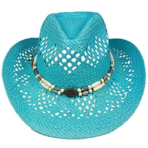 Silver Fever Fashionable Ombre Woven Straw Cowboy Hat with Cut-outs and Beads (Turquoise, Beaded)