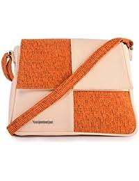 Veuza Venice Premium Jacquard And Faux Leather Tango Orange Sling Bag