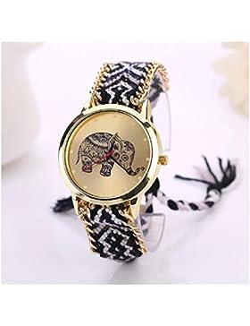 Culater® Frauen ethnisch Elefant Muster gestrickt gewebte Seil Band Armband Armbanduhr schwarz+weiß