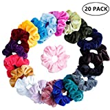 Eposeedor Coleteros Pelo Mujer, 20 PCS Velvet Hair Scrunchies Terciopelo Lazo Elastico Multicolor Gomas de Pelo Niña