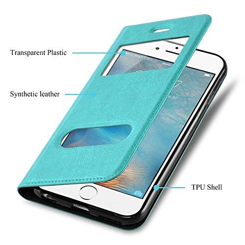 Cadorabo - Etui Housse pour Apple iPhone 6 PLUS / 6S PLUS avec stand horizontale, Fermeture Magnétique Invisible et 2 Fenêtres de Visualisation dans Désign View