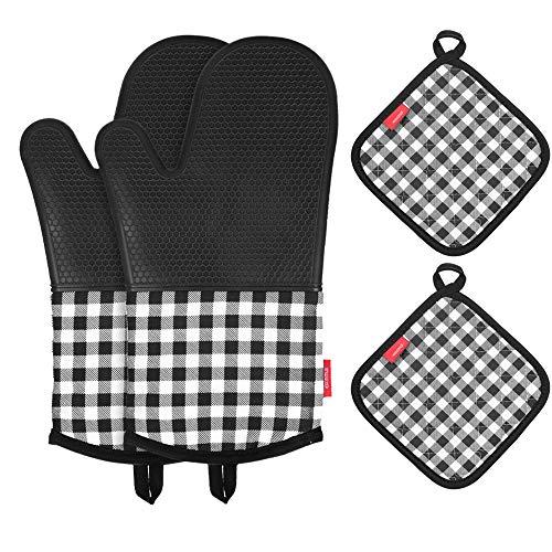 Silikon-Ofenhandschuhe,Esonmus Lange Topfenhandschuhe Doppel mit 2 Topflappen,Hitzebeständige rutschfeste Backhandschuhe für die Küche die Kochen Backen BBQ,Schwarz - Topflappen