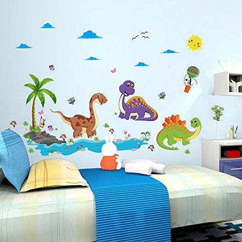 wassaw Dinosaur Paradise Kindergarten Kinderzimmer-hintergrundwandaufkleber Einfache wasserdichte Abnehmbare Sportlandschaften