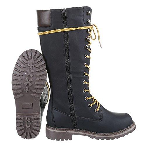 Scarpe da donna Stivali tacco a blocco Stivali con Laccio Ital-Design nero 067H-PG