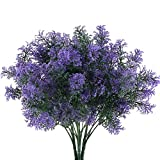 NAHUAA 4pcs Plante Artificielle Exterieur Violet 7 Branches Fleurs Artificielles Deco Fausse Arbustes Buissons Intérieur Suspendus Plante Plastique pour Jardiniere Balcon Cuisine Cimetiere Tombe