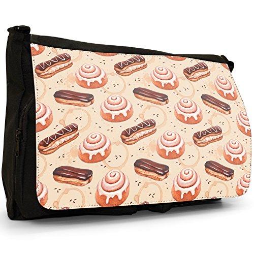 Design glasiertes Brötchen & Schokoladen-Eclair Große Messenger- / Laptop- / Schultasche Schultertasche aus schwarzem Canvas (Schokolade Brötchen)