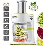 100 Watt Spiralschneider zCut mit 4 x Schneideinsätzen für Spaghetti, Linguine, Tagliatelle & Parpadelle, perfekt für Gemüsenudeln aller Art, Gemüse- Julienne Grün -