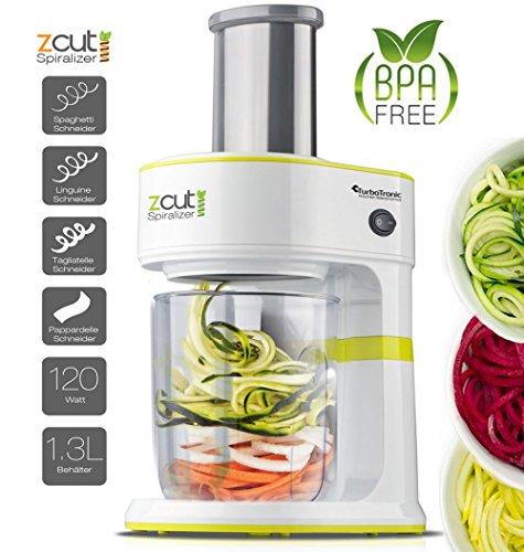 100 Watt Spiralschneider zCut mit 4 x Schneideinsätzen für Spaghetti, Linguine, Tagliatelle & Parpadelle, perfekt für Gemüsenudeln aller Art, Gemüse- Julienne Grün