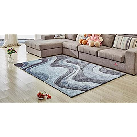 Jack Mall- Alfombra simple cifrado Modelo moderno Corea del Sur alfombra de seda Habitación Sala de cabecera rectangular Mesa de Manta estilo europeo antideslizante ( Tamaño : 140*200cm
