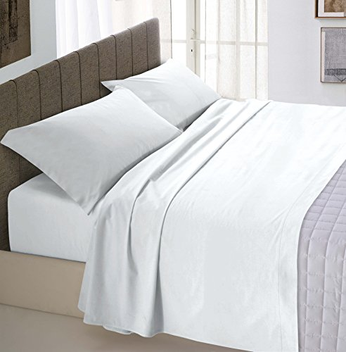 Italian Bed Linen Bettlaken 240x300 cm Bianco -