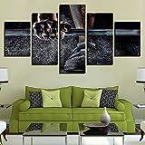 Zum Aufhängen bereit - HD Leinwand Kunst Malerei Für Wohnzimmer Wand-dekor 5 Stücke Gewichtheben...