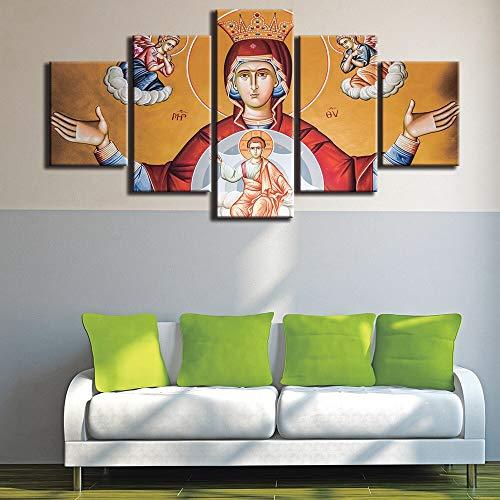 juntop Moderno para Pinturas Lienzo Decorativo Impresiones De Arte 5 Paneles Virgen María Cuadro De La Pared para La Decoración Casera Pintura Habitación De Los Niños(Sin Marco)