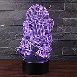 3D Optische Illusions-Lampen NHsunray LED 7 Farben Touch-Schalter Ändern Nachtlicht Für Schlafzimmer Home Decoration Hochzeit Geburtstag Weihnachten Valentine Geschenk Romantische Atmosphäre (R2D2-B)