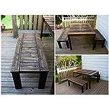 Tavolo Vintage realizzato a mano con legno di castagno, tavole da 4/5 cm, completo di sgabelli, misure 3 metri x 100 x 80h , pittura a