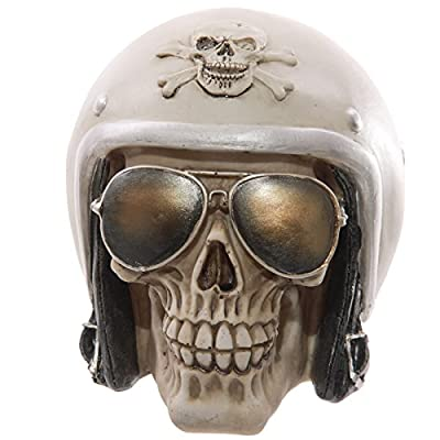 Puckator SK204 Decoration Skull with Headphones and sunglasses, Beige/White
