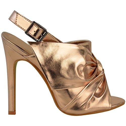 Sandales/escarpins à talon aiguille - bout ouvert/boucle arrière/noeud décoratif Rose doré métallisé / mariage